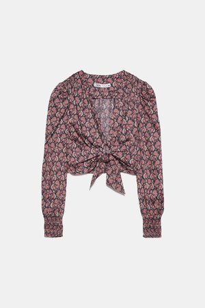 PRINTED BLOUSE WITH KNOT | ZARA United States