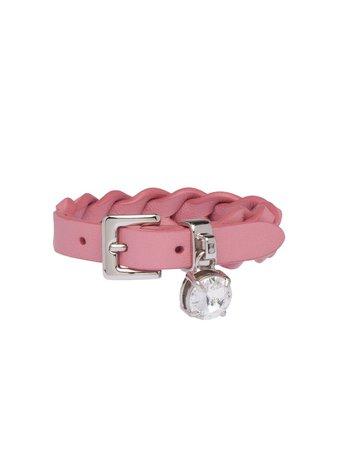 Miu Miu Woven Nappa Leather Bracelet 5IB3202D8K Pink | Farfetch