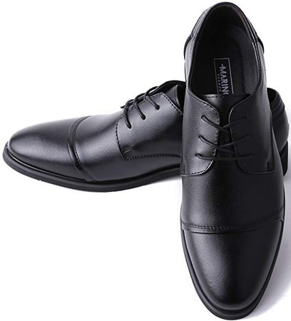 Amazon.com | Marino Oxford Dress Shoes for Men - Formal Leather Mens Shoes - Black - Cap-Toe - 8.5 D(M) US | Oxfords