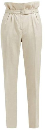 Beatrice Paperbag Waist Trousers - Womens - Beige
