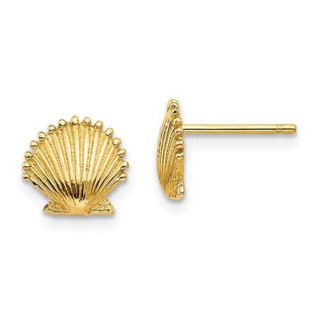 14k Yellow Gold Scallop Sea Shell Mermaid Nautical Jewelry Post Stud E – IceCarats Designer Jewelry Gift