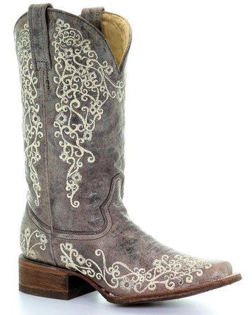Corral Women's Brown Crater Embroidered Cowgirl Boots - Square Toe - Country Outfitter