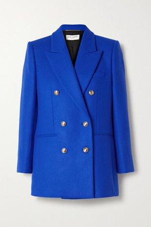 Royal blue Double-breasted wool and cashmere-blend felt blazer   SAINT LAURENT   NET-A-PORTER