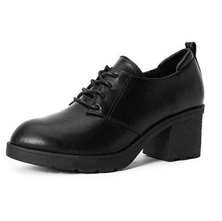 MAKEGSI Women's Platform Shoe Oxfords tip Lace up Chunky High Heel Thick Heel Shoes Dress Pumps (6, Black)