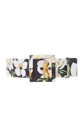 Midnight Garden Floral-Print Cotton-Blend Belt by Carolina Herrera | Moda Operandi