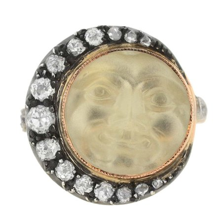 """Victorian Carved """"Man in the Moon"""" Rock Crystal Diamond Gold Crescent Ring at 1stDibs"""