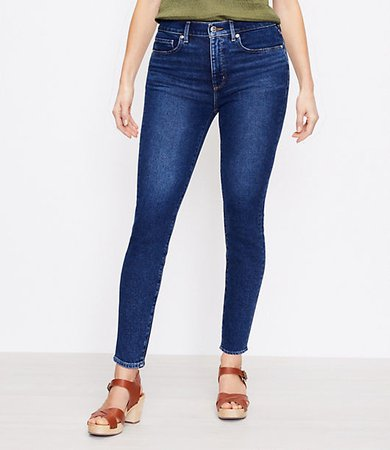 The Petite Curvy High Waist Skinny Jean in Pure Dark Indigo Wash