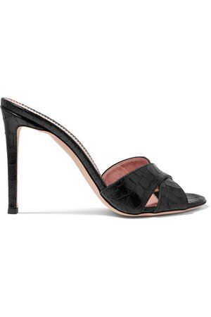 Giuseppe Zanotti | Croc-effect leather mules | NET-A-PORTER.COM