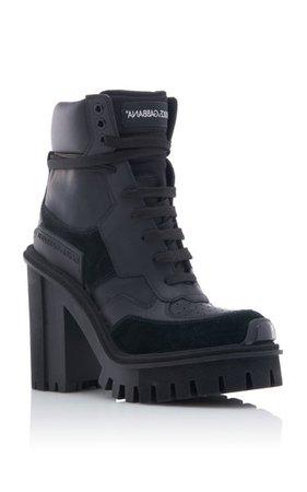 Dolce & Gabbana Leather Platform Ankle Boots