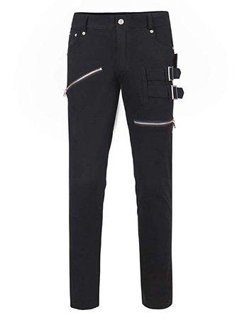 THWEI Men Casual Slim Fit Punk Rock Pants Pockets Patch Buckle Zipper Gothic Pants-Black 36 at Amazon Men's Clothing store