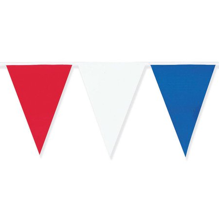 Amscan 18 in. x 120 ft. Red, White and Blue Pennant Flag Banner-12173 - The Home Depot