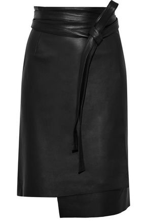 Emile leather wrap skirt | IRIS & INK | Sale up to 70% off | THE OUTNET