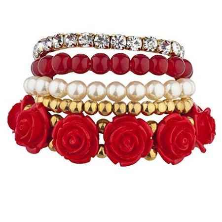Amazon.com: Lux Accessories Xmas Christmas Holiday Goldtone Red Pearl Flower Beaded Rhinestone Stretch Bracelet 5PC: Jewelry