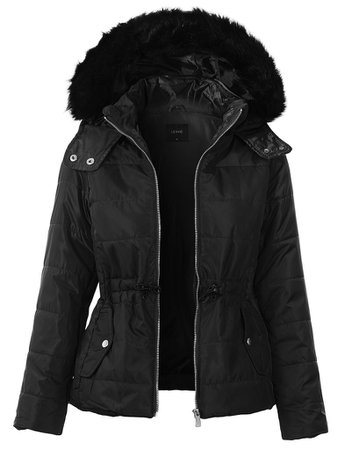 LE3NO Womens Quilted Zip Up Puffer Jacket with Detachable Faux Fur Hood | LE3NO