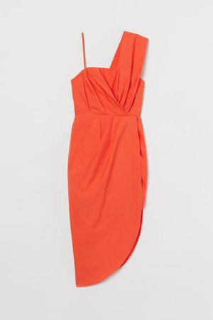 Платье с драпировкой - Оранжевый - | H&M RU