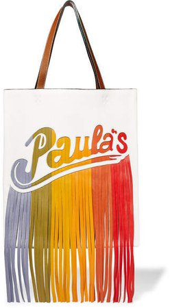Paula's Ibiza Fringed Leather Shoulder Bag - White