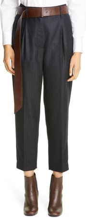 Pinstripe Pleated Tapered Trousers