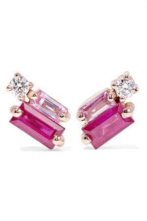 Suzanne Kalan | 18-karat rose gold, diamond and sapphire earrings | NET-A-PORTER.COM
