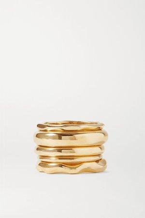 Gold Set of five gold-plated rings | Bottega Veneta | NET-A-PORTER