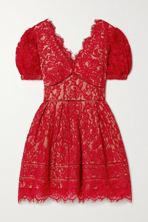 Crochet-trimmed Cotton-blend Corded Lace Mini Dress - Red