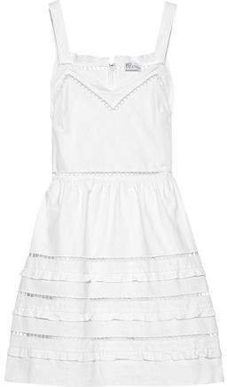 Crochet-trimmed Cotton-poplin Mini Dress