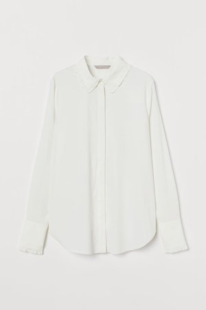 Ruffle-trimmed Blouse - White