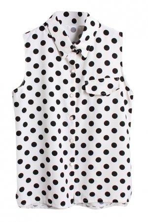 black and white polka dot sleeveless dress shirt