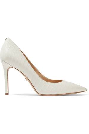 Ivory Hazel croc-effect leather pumps | Sale up to 70% off | THE OUTNET | SAM EDELMAN | THE OUTNET