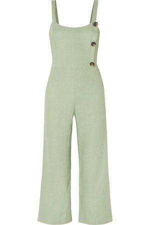 Faithfull The Brand | Sainte Marie shirred linen jumpsuit | NET-A-PORTER.COM