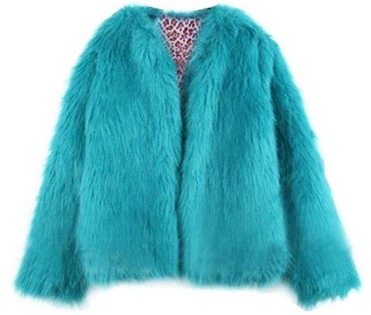 cyan fluffy jacket