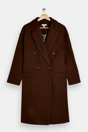 Brown Double Breasted Coat   Topshop