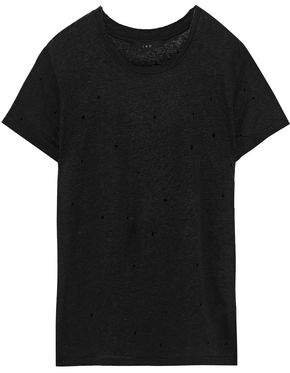 Saly Distressed Linen-jersey T-shirt