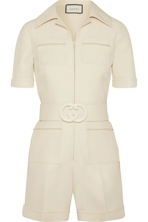 Gucci | Belted wool and silk-blend cady playsuit | NET-A-PORTER.COM