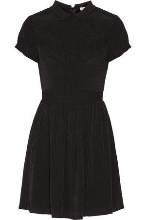 Maje Lace-trimmed crepe de chine mini dress ($162.50)