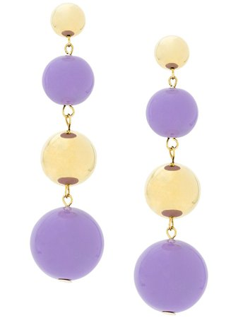Purple & gold Eshvi ball drop earrings - Farfetch