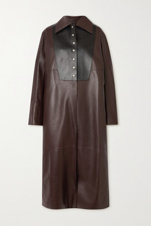 Two-tone Leather Coat - Brown