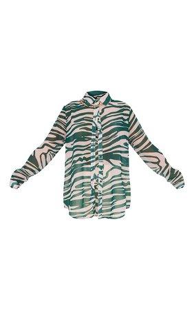 Khaki Zebra Print Chiffon Oversized Shirt   PrettyLittleThing USA