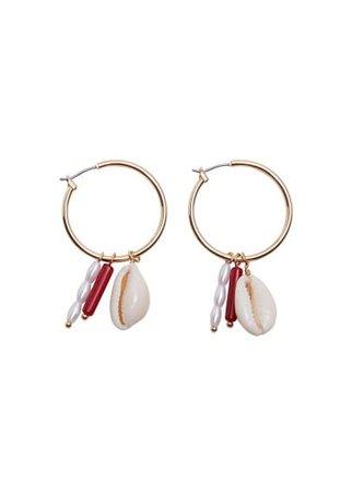 MANGO Shell hoop earrings
