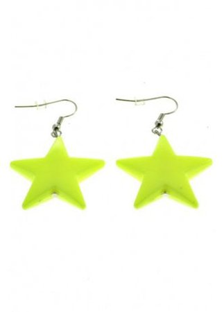 Neon Yellow Star Earrings | Attitude Clothing