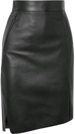 Asymmetric Leather Skirt - Green