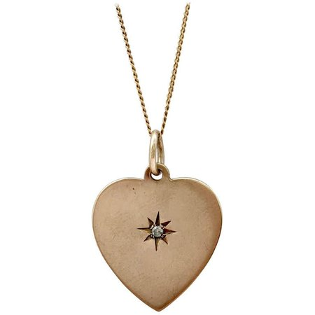 Diamond Vintage Gold Jewelry Charm Necklace Heart Coin Brilliant Cut Gemstone