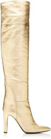 Metallic Leather Knee Boots