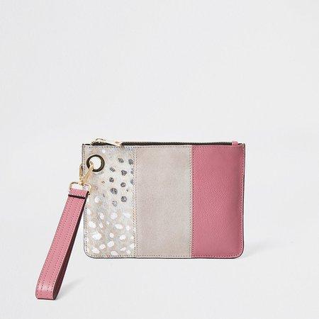 Pink leather leopard print block clutch bag | River Island