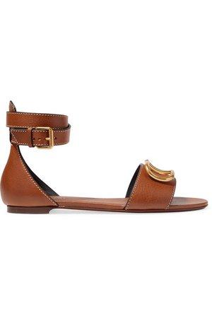 Valentino | Valentino Garavani Go Logo leather sandals | NET-A-PORTER.COM