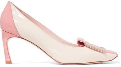 Trompette Tongue Two-tone Patent-leather Pumps - Blush