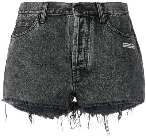 Off White logo slogan printed denim shorts