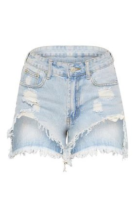 Light Wash Heavy Distressed Denim Shorts | PrettyLittleThing
