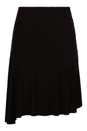 Ruched Side Skirt With Asymmetric Hem   boohoo
