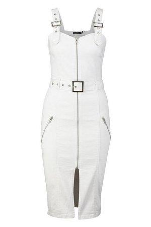 Denim Zip Through Belted Midi Dress | Boohoo