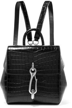 Hook Mini Croc-effect Leather Backpack - Black